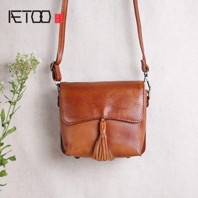 Aetoo Women Pure Handmade Leather Handbags Mini Small Square Bag Retro Bagof Shoulder