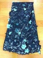 3 couleurs Dernières français du design dentelle belle 3D fleur brodé tulle dentelle tissu vente chaude avec perles robe de mariée