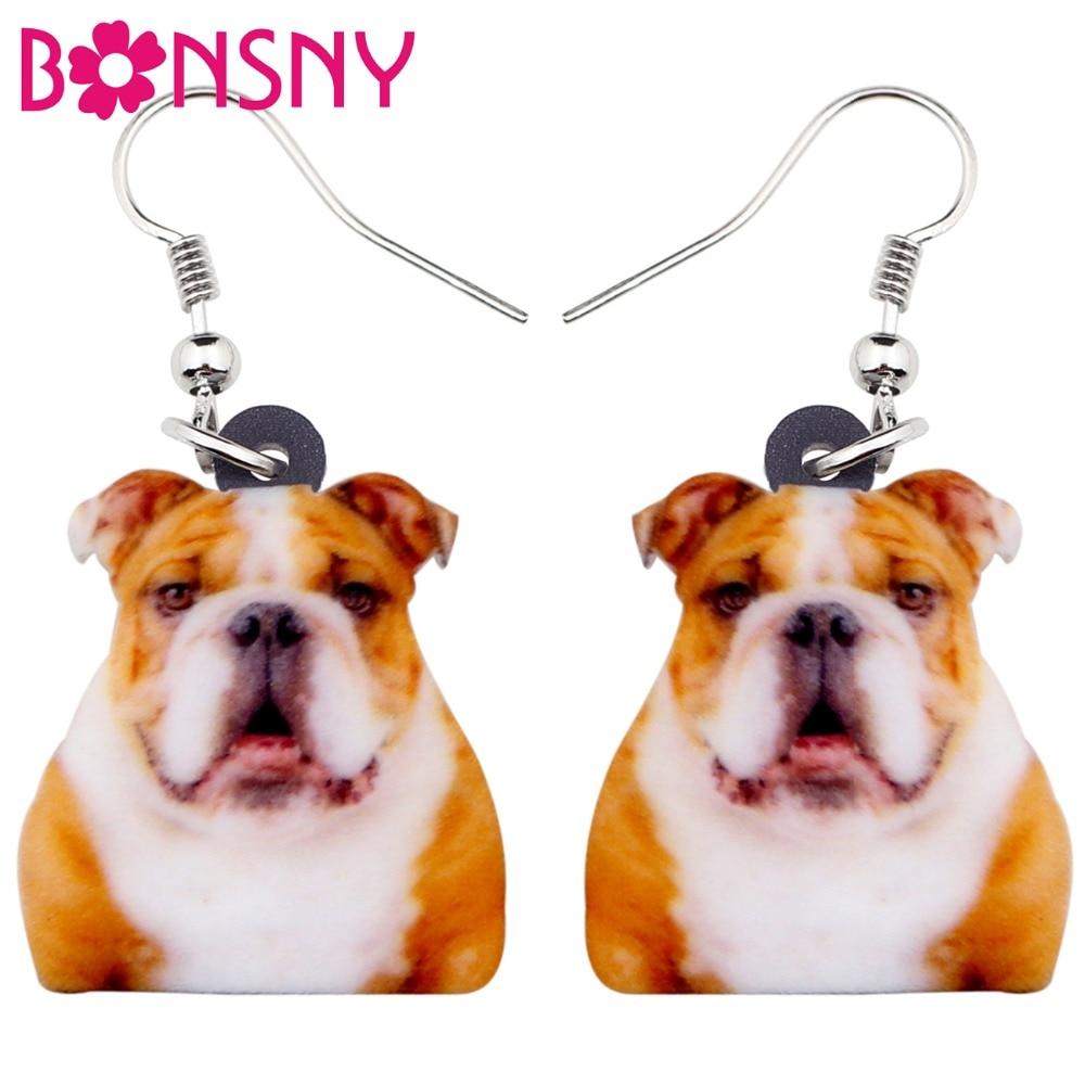 Bonsny Acrylic Novelty British Bulldog Dog Earrings Big Long Dangle Drop Fashion Animal Jewelry For Women Girls Ladies Kids Gift