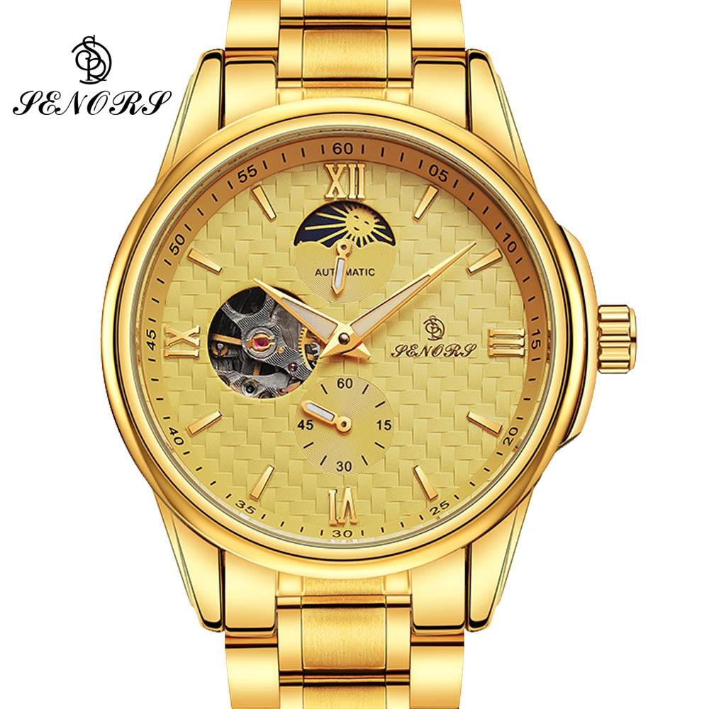 GOLD Mechanical Wrist Mens Watch Top Brand Luxury Automatic Clock Men 22mm Stainless Steel Skeleton Reloj Hombre 2017 автоприцепы из кургана в иркутске купить