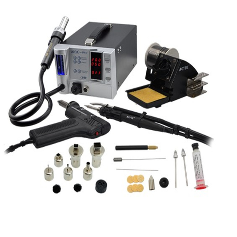 hot air soldering station Lead-Free repairing system AOYUE 2702A+ 220V,Hot air gun+Desoldering gun+soldering iron цена