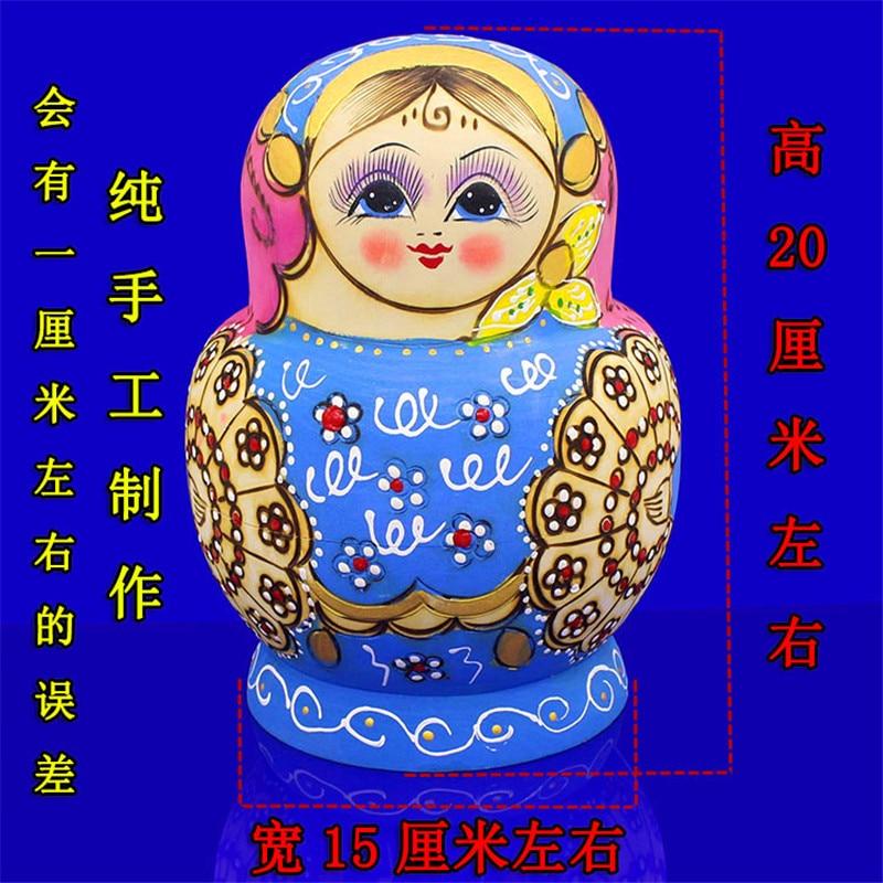 Mnotht 15 couches sec tilleul russe nidification poupées bleu & rose Eudcation bricolage Matryoshka poupée peint à la main en bois jouets L30 - 4