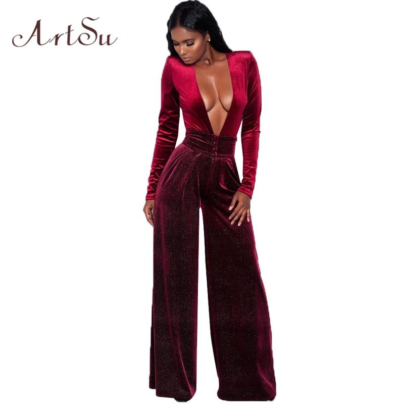 ArtSu Sexy Deep V Neck Long Sleeve Velvet Jumpsuit Wide Leg Pant Solid Plus Size Overalls Winter Waist Button Romper ASJU30255