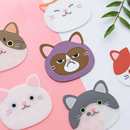 Cartoon Cat Coasters Mug Cushion Tea Cup Pad Tableware Mat Silicone Placemat G