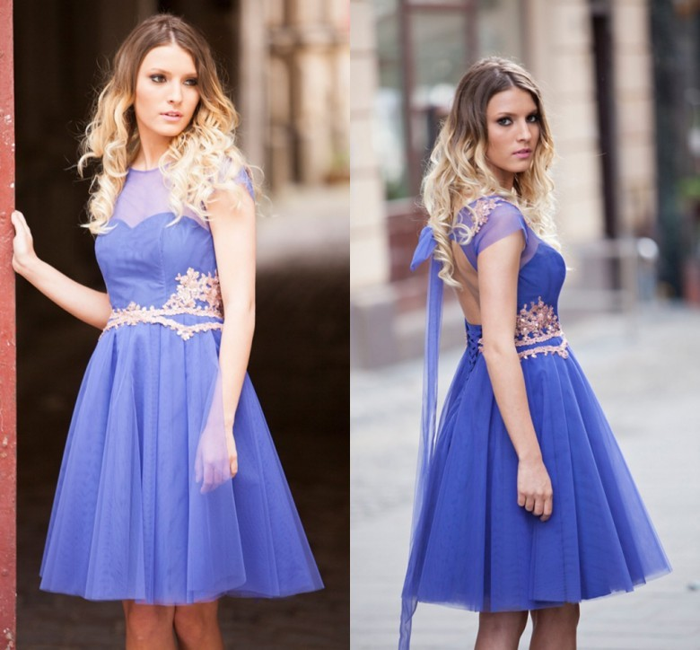 free shipping hot sexy backless A-Line tulle short Prom 2018 vestido de festa appliques bow Beaded Party Gown   bridesmaid     dresses