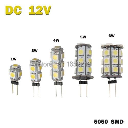 DC 12V G4 1W 3W 4W 5W 6W Home Car RV Marine Boat LED Light Bulb Lamp 5 9 13 18 27 leds 5050 SMD 12V Free Shipping 1pcs/Lot