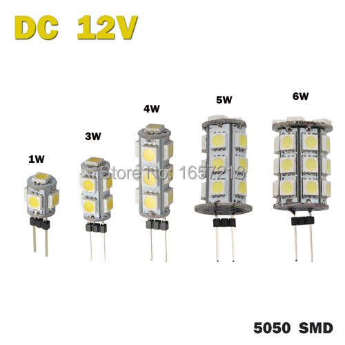 DC 12V G4 1W 3W 4W 5W 6W Home RV Marine Boat LED Light Bulb Lamp 5 9 13 18 27 Leds 5050 SMD 12V  1pcs/Lot