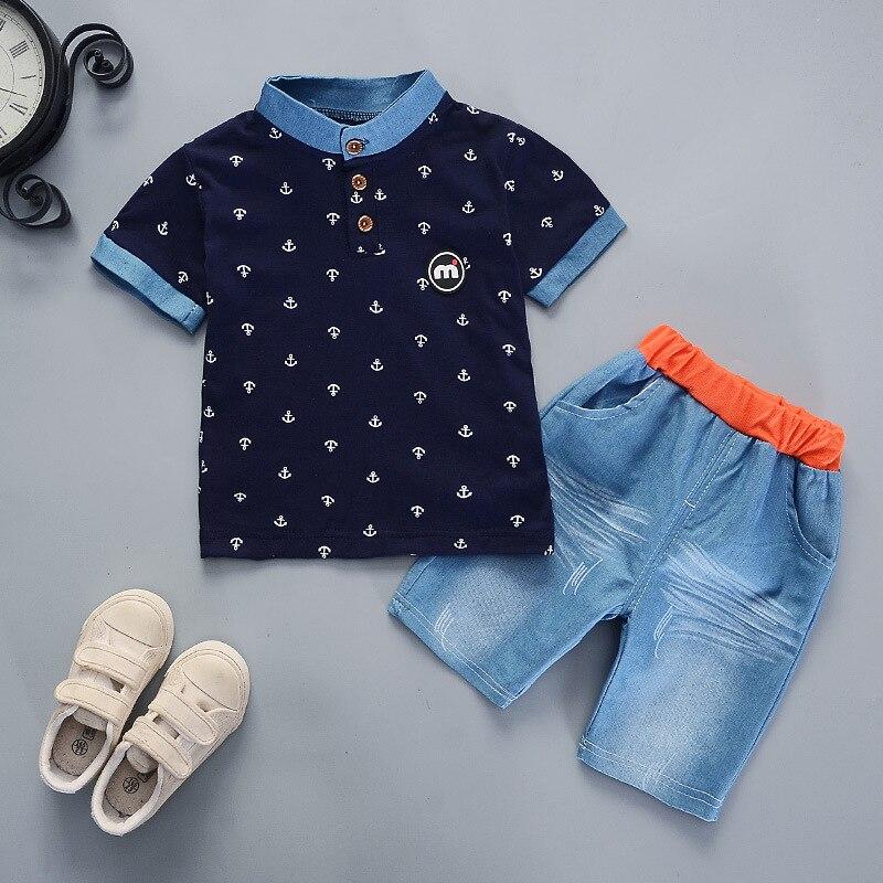 2019 Summer Boys Clothes Sets Baby Boy Fashion Print T-shirt + Shorts  2 Pieces Baby Cotton Clothing Set