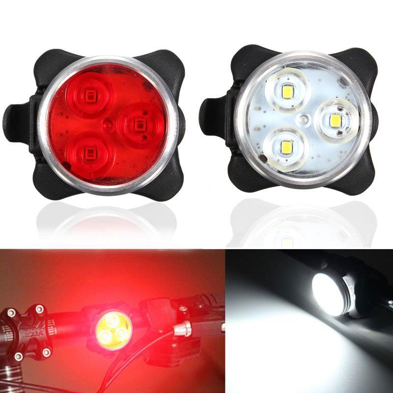 USB Rechargeable Cycling Bicycle Bike 3LED Head Front Rear Tail Clip Light Lamp Shop ALS88
