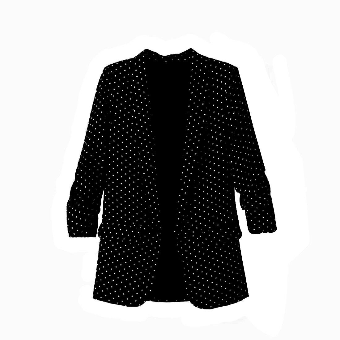 2017 Women Polka Dot Blazer Padded Shoulder Notched Collar Long Sleeve Coat Casual Outerwear Casaco Feminine Tops