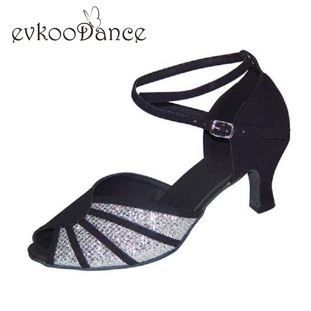 Black Silver Glitter Tan Gold Silver Purple Heel Height 6cm 7cm Size US  4-12 Professional Dancing Latin Shoes For Women NL056 aa97a526ccf9