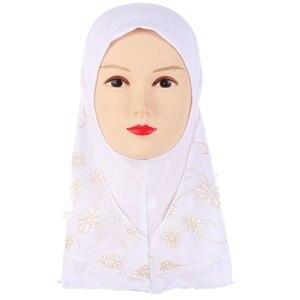 Image 4 - Kinder Kinder Moslemisches Kleine Mädchen Hijab Mit Spitze Blume Muster Islamischen Schal Schals Stretch 56cm 7 11 Jahre alt