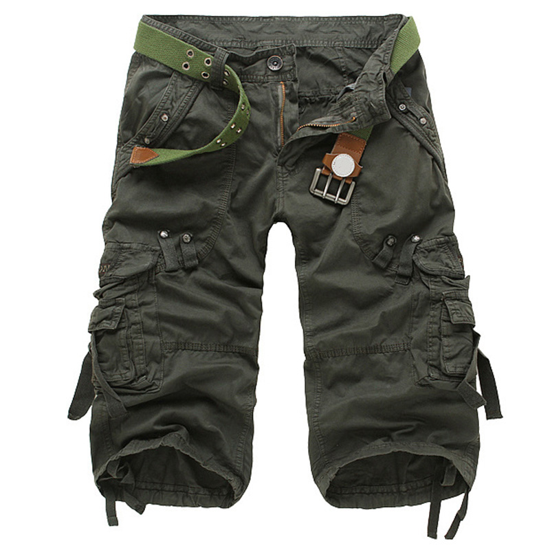 2018 New Style Summer Multi-pocket Camouflage Mens Shorts Casual Loose Knee-length Mens Cargo Shorts