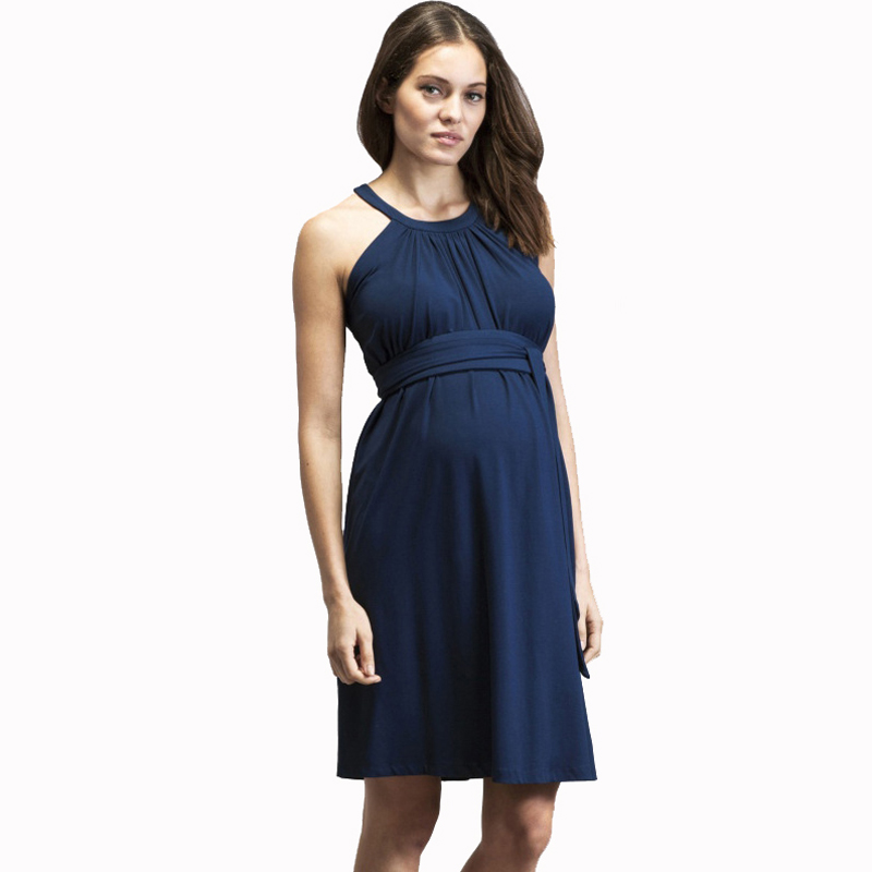 цена на Summer Sleeveless Hanging Neckline Maternity Dress Pregnancy Top Clothes for Pregnant Women Fashion Knee Length Evening Dress