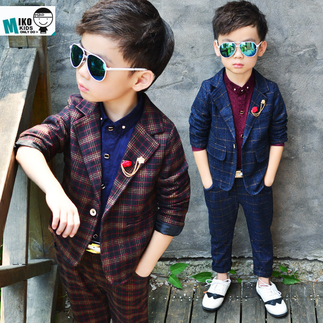 acb955b06 Niños ropa niños conjuntos 2016 primavera niños Caballero traje niño botón  a cuadros moda cool boys