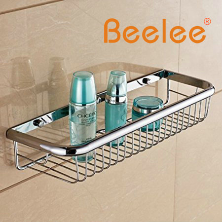 Beelee Wall Mounted Rectangle Shower Wire Basket Soap Caddy Cosmetic Holder Toilet Paper Shelf Robe Holder Accessories luxury abs chrome plated toilet paper holder roller rectangle convenience durable wc bathroom accessories high quality vt606 z4