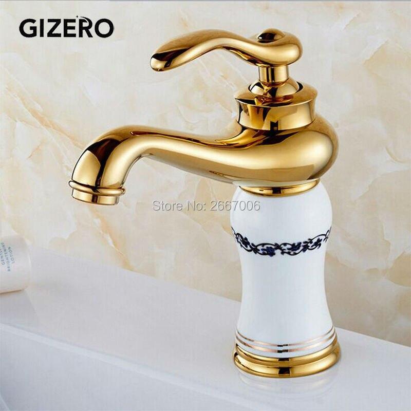 GIZERO livraison gratuite Euro Design plaqué or mitigeur robinet de lavabo en céramique blanche avec fleur lavabo robinet salle de bain GI532