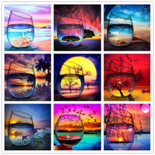CaiLong1990 5D Diamond Painting Full Round Scenery Embroidery Sale Landscape Rhinestones Pictures Mosaic Bottle