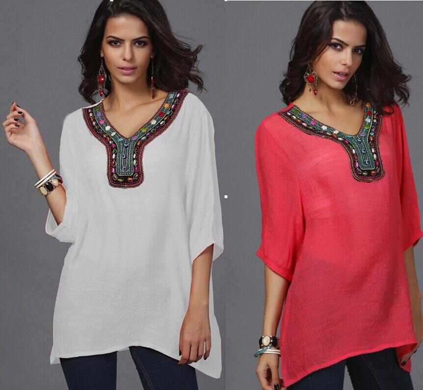 7c35c52503666d new European American fashion embroidery beads large size shirt pattern  women bamboo cotton tunic women blouse