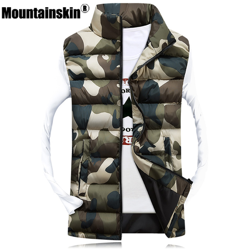Mountainskin Men's Camouflage Vest Winter Men Jacket Sleeveless Casual Male Female Camo Waistcoat Slim Fit Brand Clothing SA031
