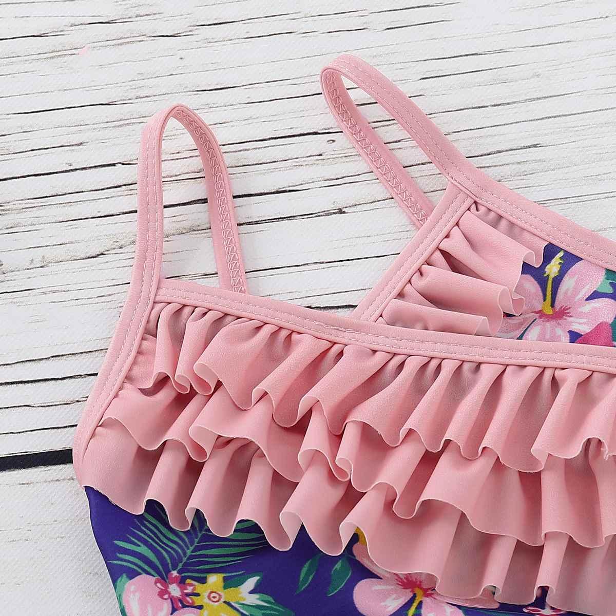 2019 bebé chica traje de baño niños niño niña una pieza traje de baño volantes Floral playa traje de baño traje niñas traje de baño lindo niños