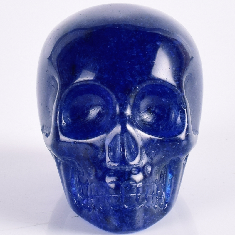 2 Inch Smelt Blue Obsidian Crystal Skull Handmade Healing Crystal Feng Shui Carved Skeleten Grass Statues Sculptures Crafts