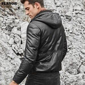 Image 5 - Kожаная куртка мужская толстовка на белом утином пуху FLAVOR, пуховик из натуральной шкуры ягненка, кожаное теплое пальто с капюшоном для зимы