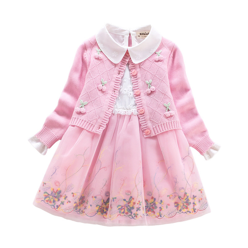 Children's clothing set 2018 autumn winter Sweater coat +Dress 2Pcs Lace Flowers Kids Girls Cotton Clothes For 4 6 7 8 9 10 Year светильник 253 хром duna sonex 888025