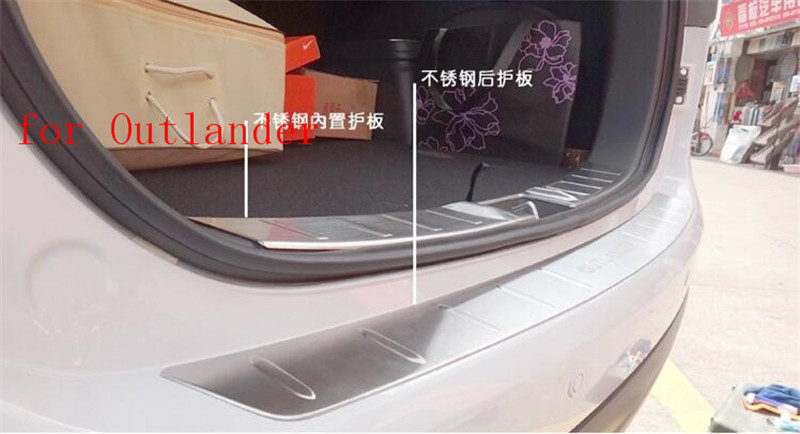 Stainless Steel Internal Internal external Rear Bumper Protector Trunk  Threshold Guard Plate for Mitsubishi Outlander 2013-2016