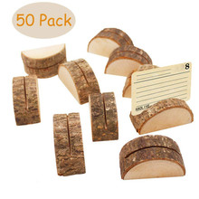 Wooden Card Holders - Rustic Real Wood Table Number Stands Picture Memo Clip Note Photo for Home Party Decoration Wedding F