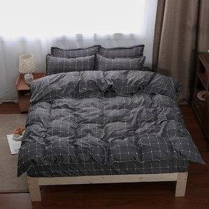 Image 3 - Solstice Home Textile Dark Gray Bedding Set Geometric Plaid Simple Duvet Cover Pillowcase Adult Teenage Man Bed Linen No Sheet