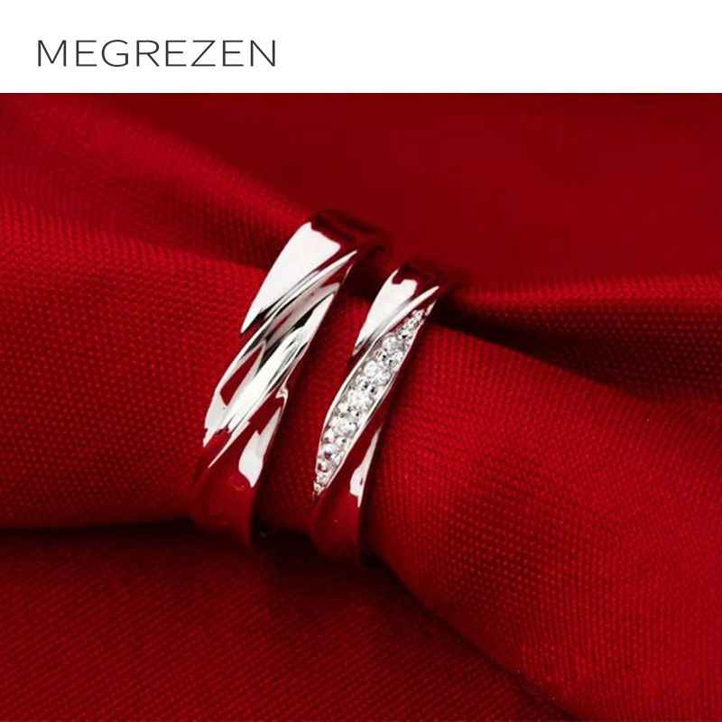 MEGREZEN Couple Wedding Rings Zirconia Jewelry Engagement Ring For Men And Women Dropshipping Anillos De Plata Con Piedras YR030