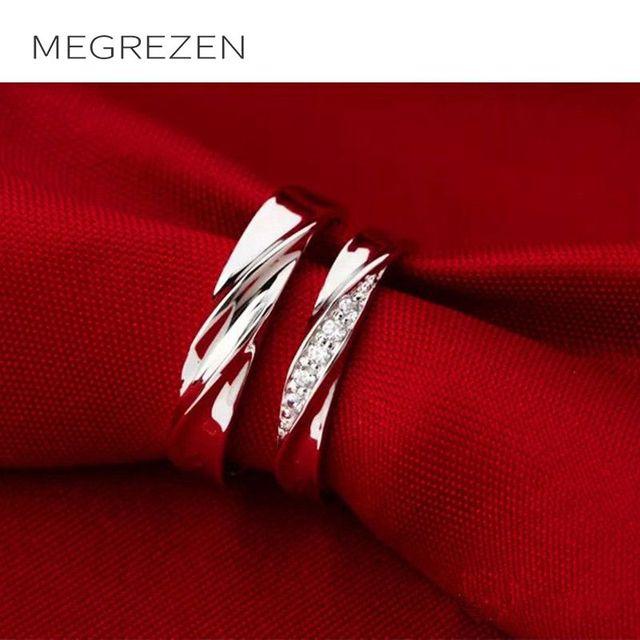 267f2faa7741 Megrezen boda pareja Anillos zirconia joyería anillo de compromiso para los  hombres y las mujeres dropshipping