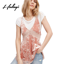 Hodoyi Women Solid Color Backless Tops Women Sleeveless V-Neck Female Tank Tops Casual Lace Ruffles Off Shoulder Camis