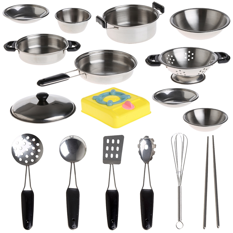 1Set Stainless Steel Pots Pans Cookware Miniature Toy Pretend Play For Kid educational playthings practice knick-knack