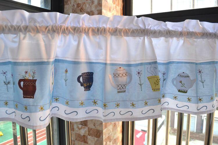 verse tuin stijl theepot borduurwerk patroon gordijn volant gordijnen keuken cafe slaapkamer woonkamer window decoratieve in verse tuin stijl theepot
