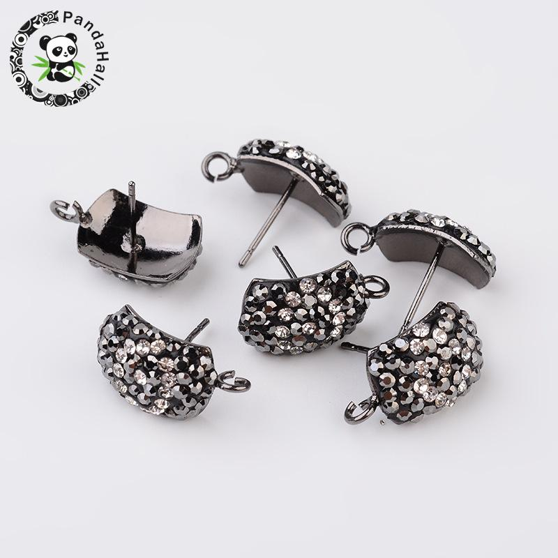 Rectangle Polymer Clay Rhinestone Stud Earring Components, with Steel Pins, Gunmetal, 12x10x5mm; Pin: 0.7mm; Hole: 2mm
