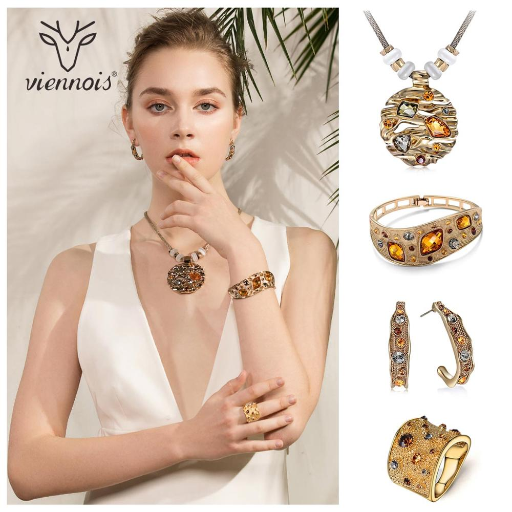 Viennois Coffee Gold Color Colorful Crystals Pendants Necklace Earring Ring Bracelet Jewelry Sets for Women Luxury