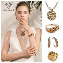 Viennois Koffie Goud Kleur Kleurrijke Kristallen Hangers Ketting Oorbellen Ring Armband Sieraden Sets voor Vrouwen Luxe Party Sieraden