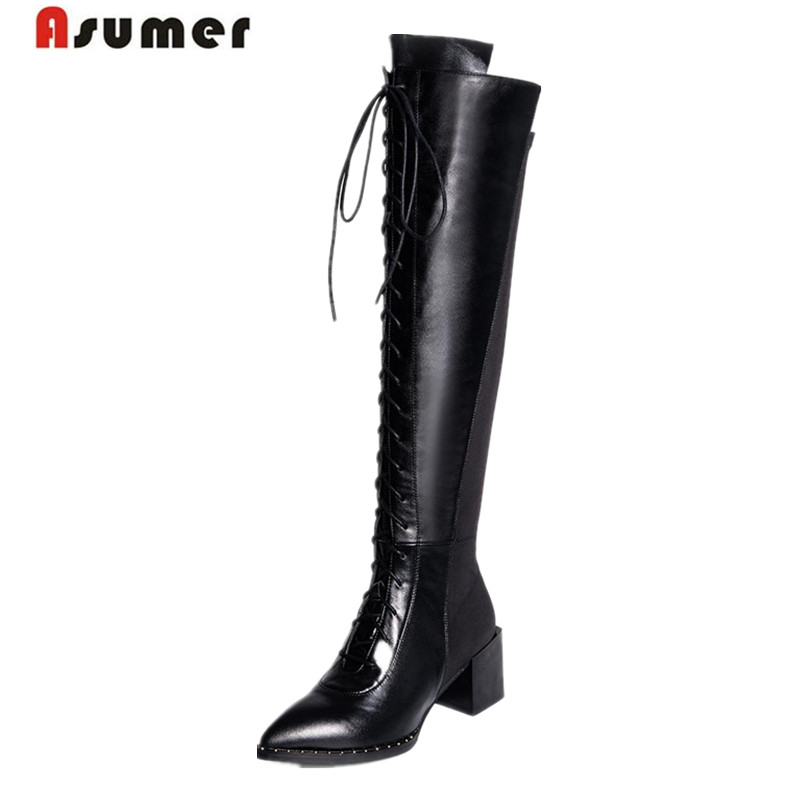 ФОТО MORAZORA Stretch long boots women high heels boots autumn big size 34-41 knee high boots genuine leather + stretch fabric