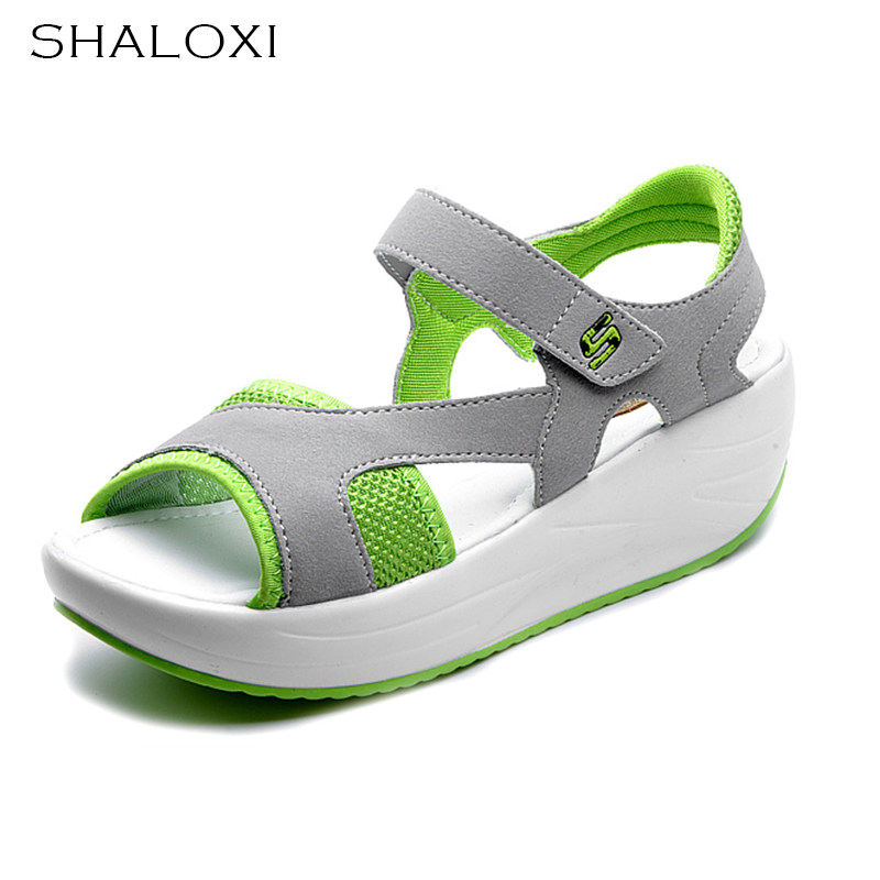 SHALOXI 2017 Summer Shoes Woman Platform Sandals Women Mesh Casual Open Toe Gladiator Wedges Women Shoes Ladies Sandals 9987 plus size 34 44 summer shoes woman platform sandals women rhinestone casual open toe gladiator wedges women zapatos mujer shoes