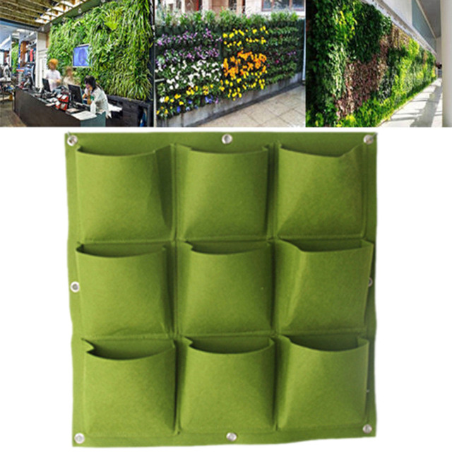 Creative 9 Pocket Outdoor Vertical Greening Hanging Wall Garden Plant Bags  Wall Planter Hanging Bags Green