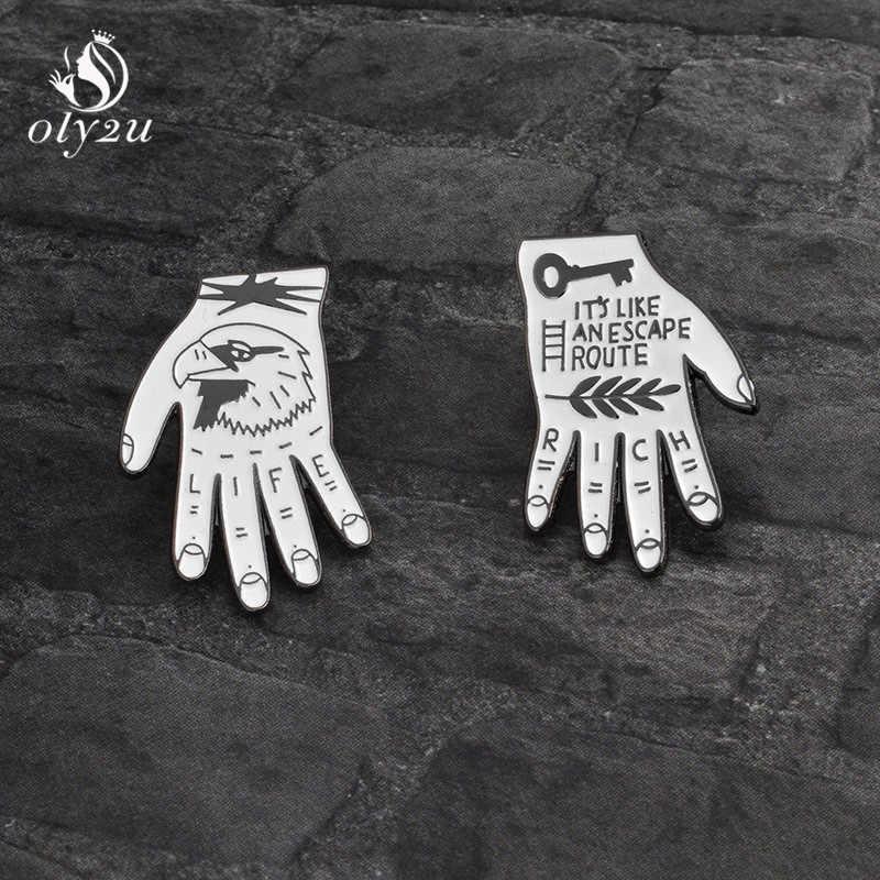Oly2u Keren Kpop Aksesoris Vintage Bros Pin Logam Kecil Hitam dan Putih Bros Kerah Pin dan Bros untuk Pakaian Pin lencana