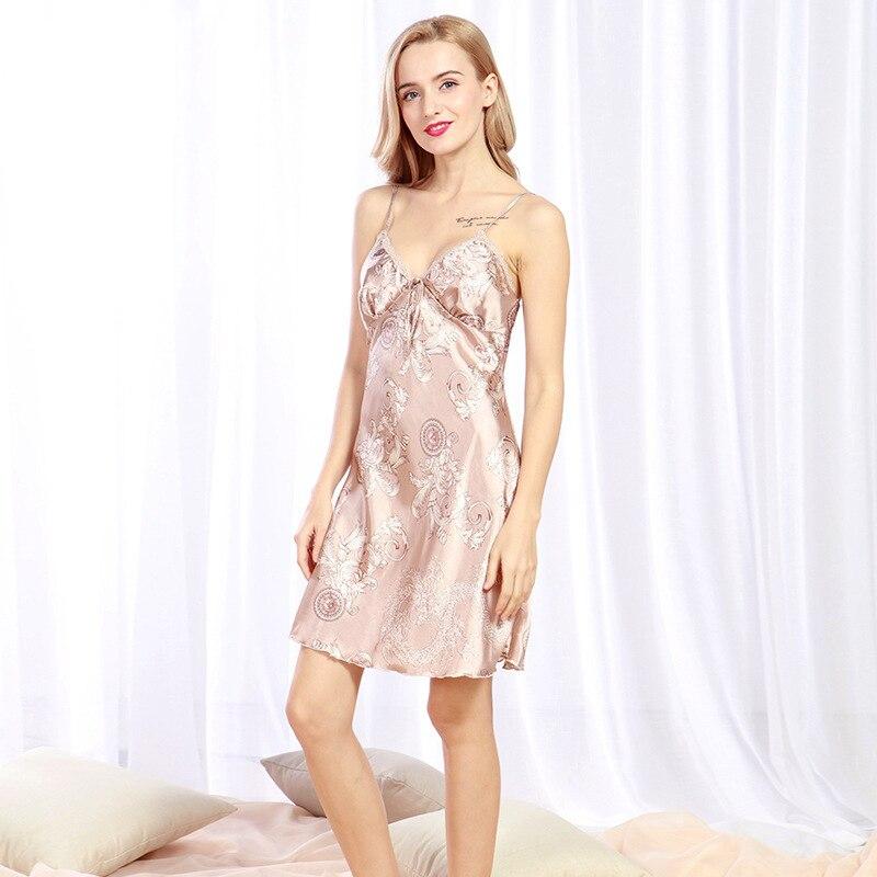 Dropwow Fulljion Ladies Sexy Silk Satin Night Dress Sleeveless ... e06aae056