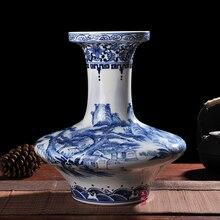 ceramics antique hand-painted porcelain vase belly flat landscape Home Furnishing living room decoration decoration