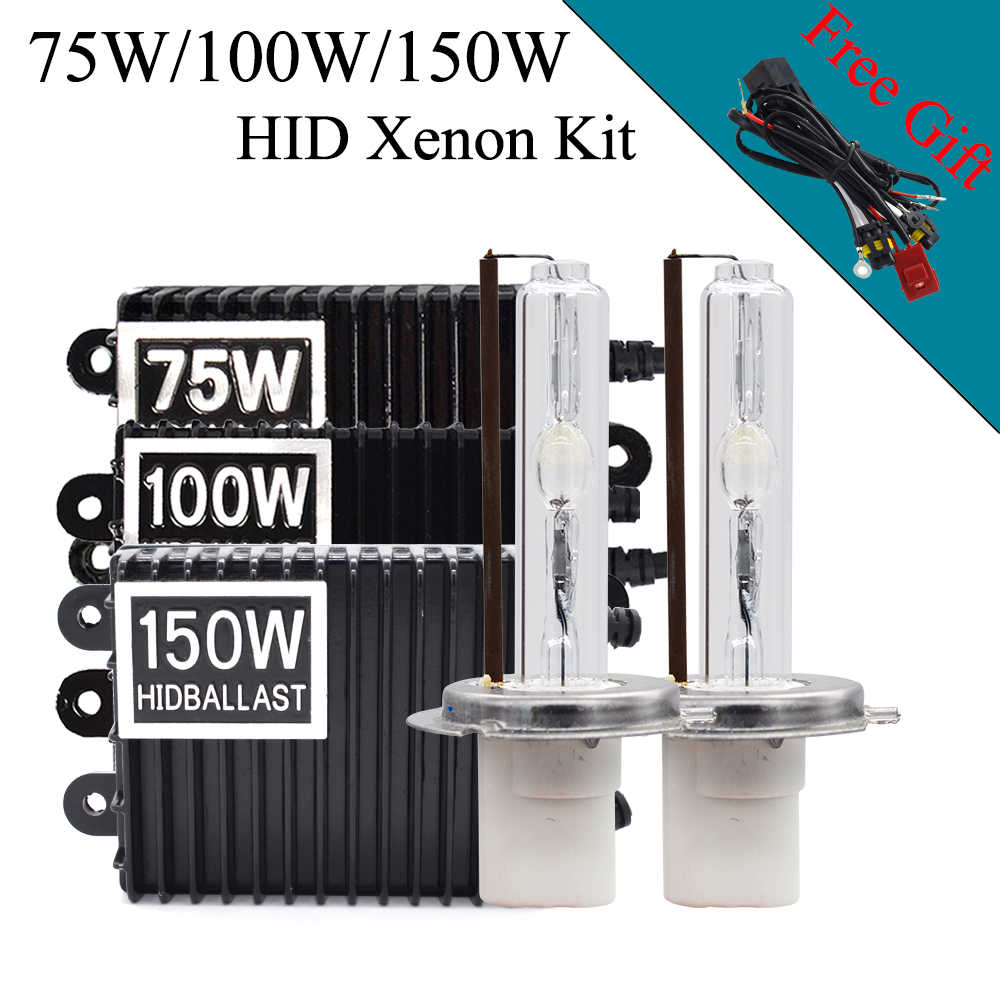 Car Headlight Xenon 150W HID Bulb Kit Ceramic H1 H3 H7 H11 HB3 HB4 D2H HID Bulb AC 12V 75W 150W 100W HID Ballast Kit Car Styling