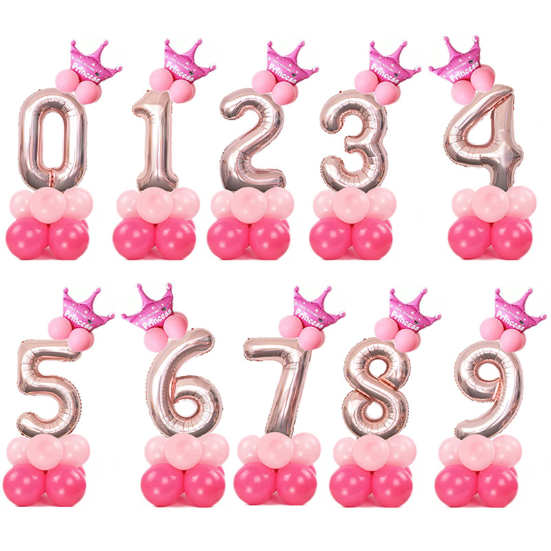 15Pcs lot Number Digit Foil Balloons Birthday Party Balloon Kids Birthday Air Ballon Decoration Festival Party Decor Supplies in Ballons Accessories from Home Garden
