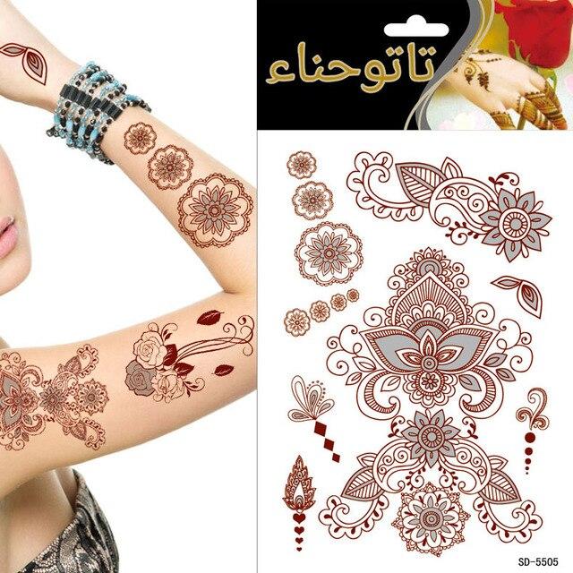 1 Unidslote Henna Tatuaje Pegar Grande Tatuajes Temporales Tattoo
