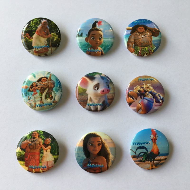 Badge Holder & Accessories Labels, Indexes & Stamps Knowledgeable 9pcs Cartoon Moana Icon Pinback Badges Buttons Pins Round Brooch 30mm Diameter Clothes/bag Accessory Party Gift Favor Customers First