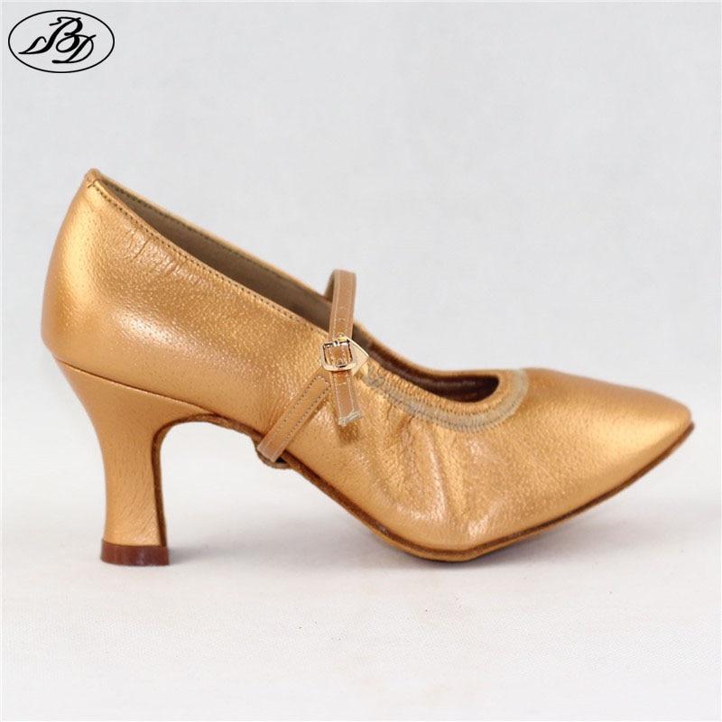 Lady Standard Dance Shoe BD 125 High Heel Pigskin Leather Women Ballroom Dance Shoe Dancesport Dance Soft Sole dancesport shoe t1canvas ladies teacher practice shoes for ballroom dance and latin dance with cow sole women shoe